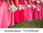 Bridesmaids In Red  Pink ...