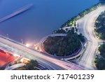 overpass of the light trails ...   Shutterstock . vector #717401239