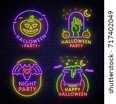 Big Set Neon Logo  Label ...