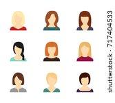 set of avatars of beautiful... | Shutterstock .eps vector #717404533
