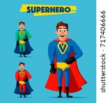 superhero in uniform. cartoon... | Shutterstock . vector #717406666