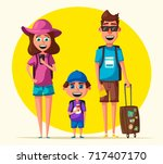 happy family in travel. journey ... | Shutterstock . vector #717407170