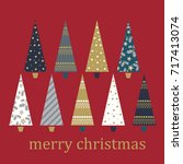 greetings card with christmas... | Shutterstock .eps vector #717413074