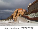 Water Gate in Grudziadz at winter - Poland - stock photo