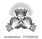 ornate old fashioned hands with ... | Shutterstock .eps vector #717424423