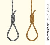 rope hanging loop. noose with... | Shutterstock .eps vector #717428770