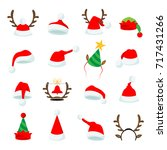 set of sixteen vector christmas ... | Shutterstock .eps vector #717431266