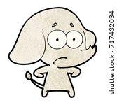 cartoon unsure elephant   Shutterstock .eps vector #717432034
