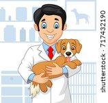 Stock vector cartoon veterinarian doctor examining a puppy 717432190