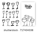 set of hand drawn drink cups.... | Shutterstock .eps vector #717434338