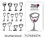 set of hand drawn drink cups.... | Shutterstock .eps vector #717434374