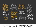 quotes for fitness  gym. hand... | Shutterstock .eps vector #717435493