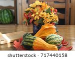 Gourds And Fall Flowers