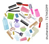 set of colorful equipments for... | Shutterstock .eps vector #717442099