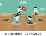 the difference between leader... | Shutterstock .eps vector #717442603