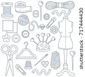 sewing doodles hobby hand made...   Shutterstock .eps vector #717444430
