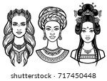 set of portraits of young... | Shutterstock .eps vector #717450448