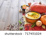 pumpkin  carrot and ginger... | Shutterstock . vector #717451024