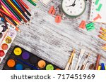 set of different school... | Shutterstock . vector #717451969