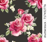 Watercolor Floral Pattern Red...