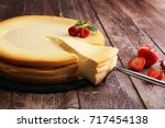 homemade cheesecake with fresh...   Shutterstock . vector #717454138