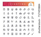 set of 56 fighting line icons... | Shutterstock .eps vector #717455884