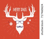 hipster vintage christmas deer  ...   Shutterstock .eps vector #717460624