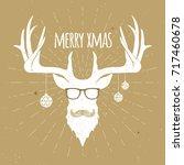 hipster vintage christmas deer  ...   Shutterstock .eps vector #717460678