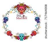 day of the dead skull frame ... | Shutterstock .eps vector #717464008