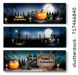 group of halloween banners with ... | Shutterstock .eps vector #717466840