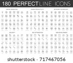 180 modern thin line icons set... | Shutterstock .eps vector #717467056