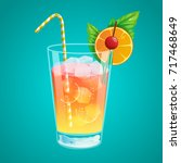 colorful cocktail with straw... | Shutterstock .eps vector #717468649