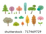 colorful hand drawn trees. flat ... | Shutterstock .eps vector #717469729
