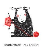 knitting cute sheep hand drawn. ... | Shutterstock .eps vector #717470314