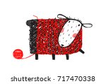 sheep wearing handcrafted... | Shutterstock .eps vector #717470338