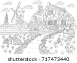 coloring page of rural... | Shutterstock .eps vector #717473440