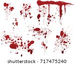 set of various dripping blood... | Shutterstock .eps vector #717475240