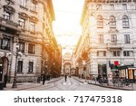 The street with ancient buildings in the center of Milan, Italy