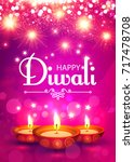 happy diwali. traditional... | Shutterstock .eps vector #717478708
