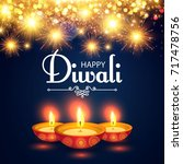 happy diwali. traditional... | Shutterstock .eps vector #717478756