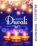 happy diwali. traditional... | Shutterstock .eps vector #717478768