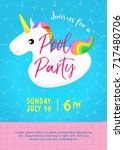 pool party invitation vector... | Shutterstock .eps vector #717480706