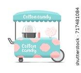 cotton candy street food cart.... | Shutterstock .eps vector #717481084