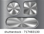 set of metal buttons on... | Shutterstock .eps vector #717483130