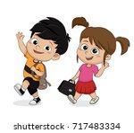 kid walking to school.back to...   Shutterstock .eps vector #717483334