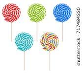 vector set of colorful lollipop ... | Shutterstock .eps vector #717484330