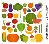 fruits and vegetables set.... | Shutterstock .eps vector #717486094