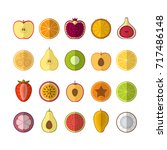 fruits and berries icons set.... | Shutterstock .eps vector #717486148
