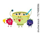 funny smiling bowl of oatmeal... | Shutterstock .eps vector #717488086