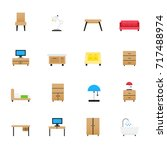 furniture icons. set of objects ... | Shutterstock .eps vector #717488974